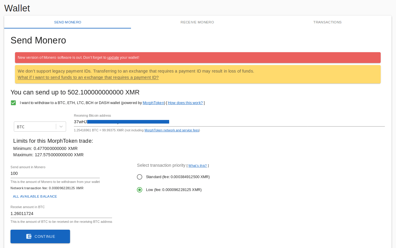 wallet page showing option to withdraw monero as btc